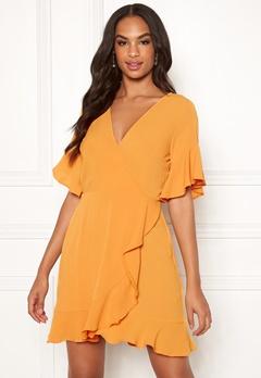 AX Paris Frill Sleeve Wrap Dress Yellow Bubbleroom.fi