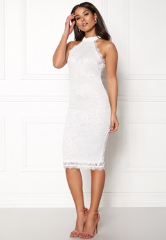 AX Paris High Neck Lace Midi Dress White Bubbleroom.fi