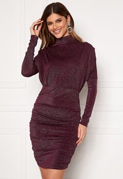 AX Paris High Neck Rough Sparkle Dress Plum Bubbleroom.fi