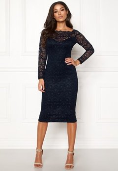 AX Paris Lace Off Shoulder Dress Navy Bubbleroom.fi