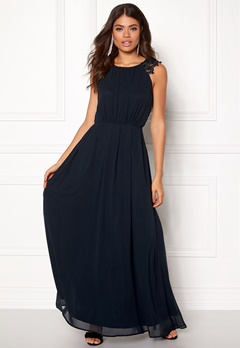 AX Paris Lace Trim Chiffon Dress Navy Bubbleroom.fi