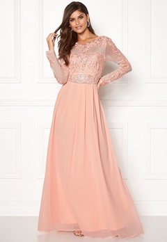 AX Paris Long Sleeve Lace Maxi Nude Bubbleroom.fi