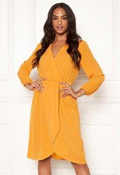 AX Paris Long Sleeve Wrap Dress Yellow Bubbleroom.fi