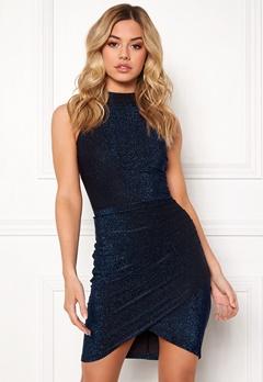AX Paris Metallic High Neck Dress Blue Bubbleroom.fi