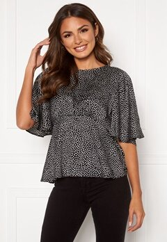 AX Paris Mini Spot Flared Blouse Black Bubbleroom.fi
