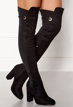 AX Paris Overknee Zip Boots Black Bubbleroom.fi