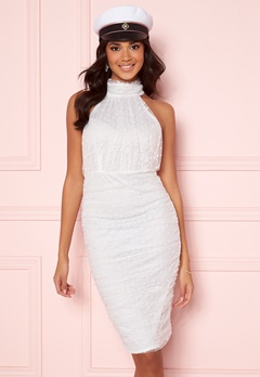 AX Paris Polka Dot Mesh Dress White Bubbleroom.fi