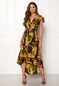 AX Paris Printed Cap Maxi Dress Black/gold Bubbleroom.fi