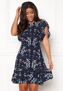 AX Paris Printed Skater Dress Navy Bubbleroom.fi
