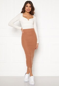 AX Paris Rib Knit Midaxi Skirt Camel Bubbleroom.fi