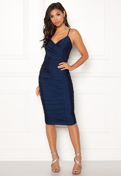 AX Paris Rouched Midi Dress Navy Bubbleroom.fi