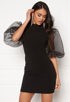 AX Paris Sheer Sleeve Dress Black Bubbleroom.fi