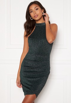 AX Paris Sparkle Rouch Wrap Mini Dress Teal Bubbleroom.fi