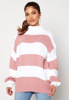 AX Paris Stripe Knitted Jumper Pink bubbleroom.fi