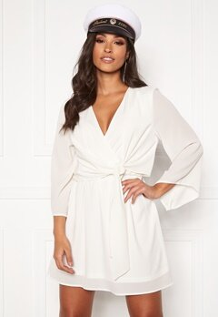 AX Paris Tie Waist Deep V Dress White Bubbleroom.fi