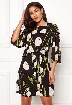 AX Paris Floral Tie Waist Dress Black Bubbleroom.fi