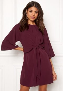AX Paris Tie Waist Flared Dress Plum Bubbleroom.fi