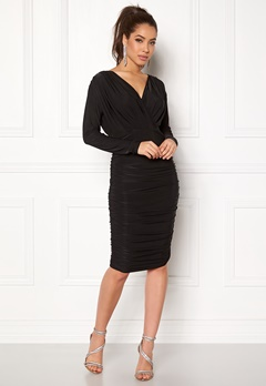 AX Paris V Front Slinky Midi Dress Black Bubbleroom.fi