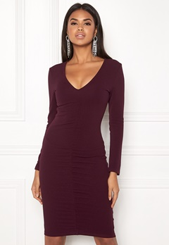 AX Paris V-Neck Rouch Front Dress Plum Bubbleroom.fi