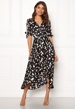 AX Paris Wrap Front Printed Dress Black Bubbleroom.fi