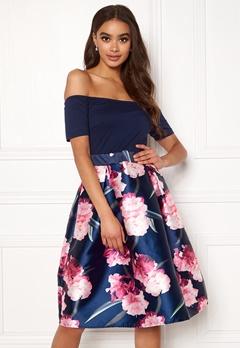 AX Paris Bardot Floral Prom Dress Navy Bubbleroom.fi