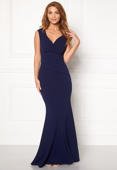 Goddiva Bardot Pleat Maxi Dress Royal Blue Bubbleroom.fi