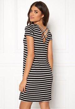 ONLY Bera Back Lace S/S Dress Black Stripes Bubbleroom.fi