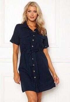 Blue Vanilla Button Shirt Dress Navy Bubbleroom.fi