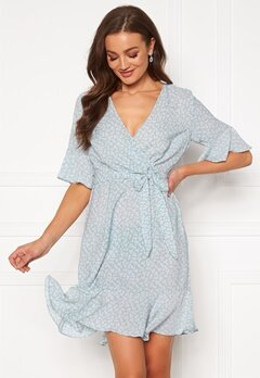 Blue Vanilla Ditsy Wrap Frill Mini Dress Pale Blue Bubbleroom.fi