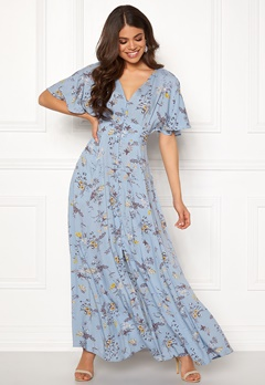 Blue Vanilla Floral Button Maxi Dress Blue Bubbleroom.fi