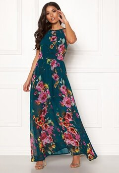 Blue Vanilla Floral Keyhole Maxi Dress Green Bubbleroom.fi