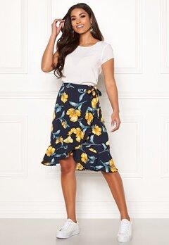 Blue Vanilla Floral Ruffle Wrap Skirt Navy Bubbleroom.fi