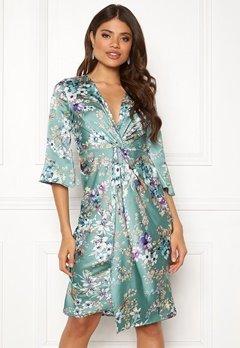 Blue Vanilla Floral Twist Midi Dress Mint Bubbleroom.fi