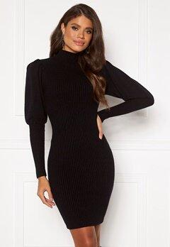 Blue Vanilla Knitted Puff Sleeve Dress Black bubbleroom.fi