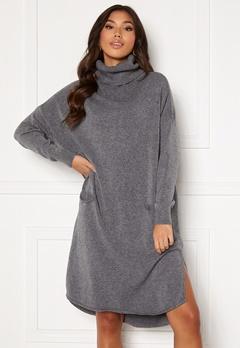 Blue Vanilla Knitted Roll Neck Dress Grey Bubbleroom.fi