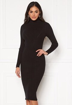 Blue Vanilla Rib Knit Midi Dress Black Bubbleroom.fi