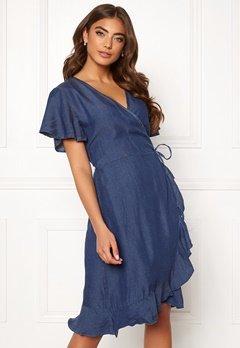 Blue Vanilla Wrap Frill Denim Dress Dark Denim Bubbleroom.fi