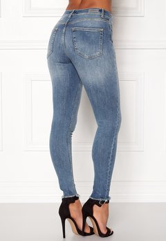 ONLY Blush Mid Raw Jeans Light Blue Denim Bubbleroom.fi