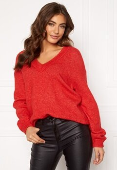 Boomerang Rutan V-neck Sweater Postbox Red Bubbleroom.fi