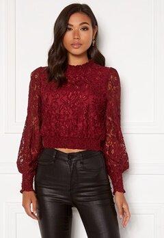 BUBBLEROOM Aida lace blouse Wine-red Bubbleroom.fi