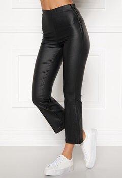 BUBBLEROOM Alicia coated kickflare trousers Black Bubbleroom.fi