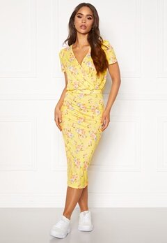 BUBBLEROOM Becky wrap dress Yellow / Floral Bubbleroom.fi