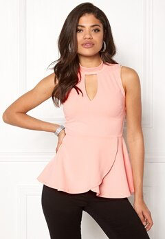 BUBBLEROOM Bella peplum top Light pink Bubbleroom.fi