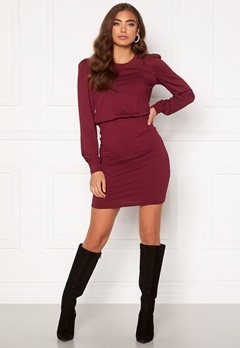 BUBBLEROOM Besa long sleeve short dress  Wine-red Bubbleroom.fi