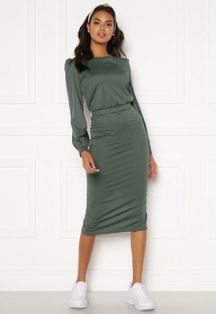 BUBBLEROOM Besa rib dress Dark green Bubbleroom.fi