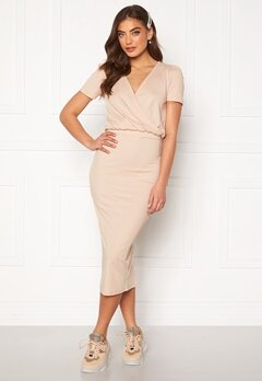 BUBBLEROOM Besa wrap dress Beige Bubbleroom.fi