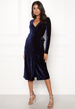 BUBBLEROOM Blair overlap dress Dark blue Bubbleroom.fi
