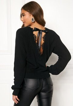 BUBBLEROOM Callie lace neck knitted sweater Black Bubbleroom.fi