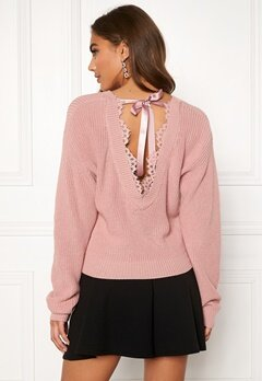 BUBBLEROOM Callie lace neck knitted sweater Dusty pink Bubbleroom.fi