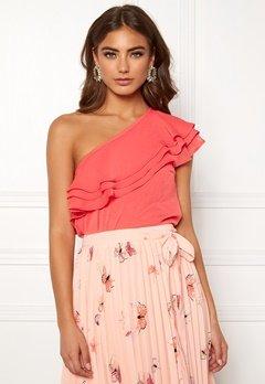 BUBBLEROOM Carolina Gynning Flounce blouse Peach Bubbleroom.fi